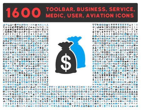 health care funding: Funds raster icon and 1600 other business, service tools, medical care, software toolbar, web interface pictograms. Style is bicolor flat symbols, blue and gray colors, rounded angles, white background.
