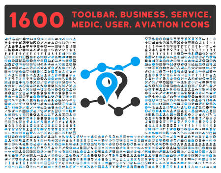 health care analytics: Geo Trends raster icon and 1600 other business, service tools, medical care, software toolbar, web interface pictograms. Style is bicolor flat symbols, blue and gray colors, rounded angles, white background.