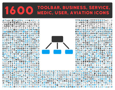 toolbar: Hierarchy raster icon and 1600 other business, service tools, medical care, software toolbar, web interface pictograms. Style is bicolor flat symbols, blue and gray colors, rounded angles, white background.