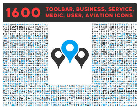 Locations raster icon and 1600 other business, service tools, medical care, software toolbar, web interface pictograms. Style is bicolor flat symbols, blue and gray colors, rounded angles, white background.