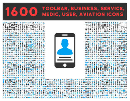 toolbar: Mobile Account raster icon and 1600 other business, service tools, medical care, software toolbar, web interface pictograms. Style is bicolor flat symbols, blue and gray colors, rounded angles, white background.