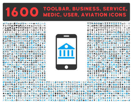 toolbar: Mobile Bank raster icon and 1600 other business, service tools, medical care, software toolbar, web interface pictograms. Style is bicolor flat symbols, blue and gray colors, rounded angles, white background.