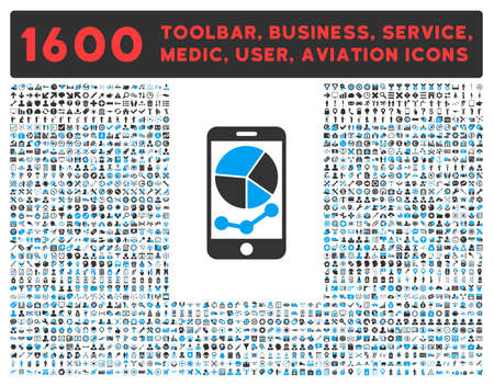 health care analytics: Mobile Graphs raster icon and 1600 other business, service tools, medical care, software toolbar, web interface pictograms. Style is bicolor flat symbols, blue and gray colors, rounded angles, white background.