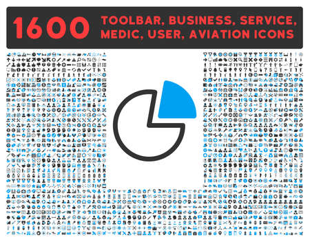 toolbar: Pie Charts raster icon and 1600 other business, service tools, medical care, software toolbar, web interface pictograms. Style is bicolor flat symbols, blue and gray colors, rounded angles, white background.
