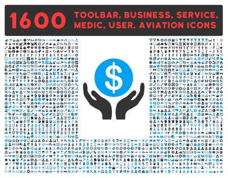 toolbar: Pray raster icon and 1600 other business, service tools, medical care, software toolbar, web interface pictograms. Style is bicolor flat symbols, blue and gray colors, rounded angles, white background. Stock Photo
