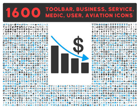 health care analytics: Recession raster icon and 1600 other business, service tools, medical care, software toolbar, web interface pictograms. Style is bicolor flat symbols, blue and gray colors, rounded angles, white background.