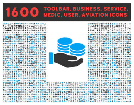 toolbar: Salary raster icon and 1600 other business, service tools, medical care, software toolbar, web interface pictograms. Style is bicolor flat symbols, blue and gray colors, rounded angles, white background.