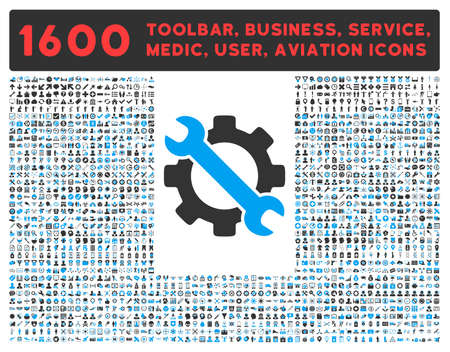toolbar: Service raster icon and 1600 other business, service tools, medical care, software toolbar, web interface pictograms. Style is bicolor flat symbols, blue and gray colors, rounded angles, white background.
