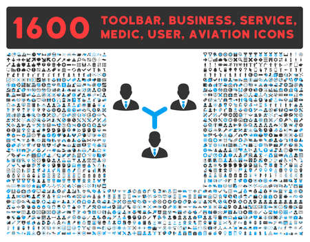 toolbar: Teamwork raster icon and 1600 other business, service tools, medical care, software toolbar, web interface pictograms. Style is bicolor flat symbols, blue and gray colors, rounded angles, white background.