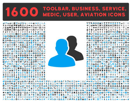 toolbar: Accounts vector icon and 1600 other business, service tools, medical care, software toolbar, web interface pictograms. Style is bicolor flat symbols, blue and gray colors, rounded angles, white background.