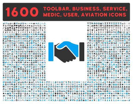 Adquisición de iconos de vectores y otros 1.600 negocios, herramientas de servicio, la atención médica, la barra de herramientas de software, pictogramas interfaz web. El estilo es bicolor símbolos planas, los colores azules y grises, ángulos redondeados, fondo blanco.