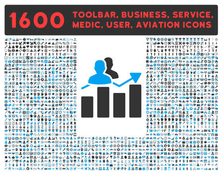 toolbar: Audience Graph vector icon and 1600 other business, service tools, medical care, software toolbar, web interface pictograms. Style is bicolor flat symbols, blue and gray colors, rounded angles, white background. Illustration
