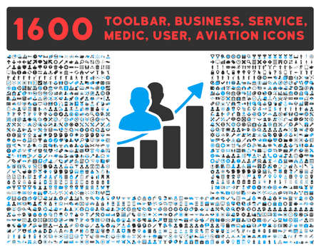 toolbar: Audience Growth vector icon and 1600 other business, service tools, medical care, software toolbar, web interface pictograms. Style is bicolor flat symbols, blue and gray colors, rounded angles, white background.