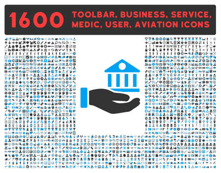 toolbar: Bank Service vector icon and 1600 other business, service tools, medical care, software toolbar, web interface pictograms. Style is bicolor flat symbols, blue and gray colors, rounded angles, white background.