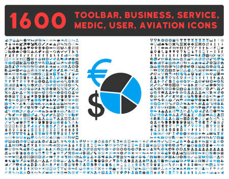 toolbar: Currency Pie Chart vector icon and 1600 other business, service tools, medical care, software toolbar, web interface pictograms. Style is bicolor flat symbols, blue and gray colors, rounded angles, white background.
