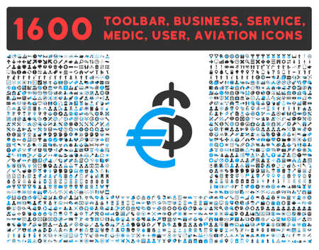 toolbar: Currency vector icon and 1600 other business, service tools, medical care, software toolbar, web interface pictograms. Style is bicolor flat symbols, blue and gray colors, rounded angles, white background.