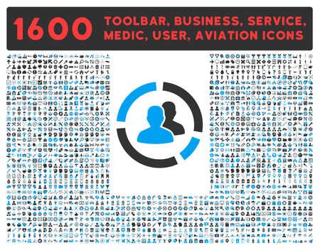Demografie Diagram vector icon en 1600 andere zakelijke, service tools, medische zorg, software toolbar, web-interface pictogrammen. Stijl is bicolor vlak symbolen, blauwe en grijze kleuren, afgeronde hoeken, een witte achtergrond.