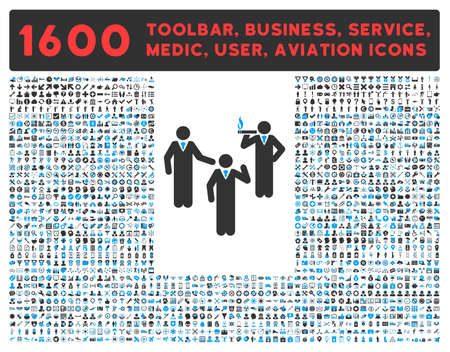 toolbar: Discuss vector icon and 1600 other business, service tools, medical care, software toolbar, web interface pictograms. Style is bicolor flat symbols, blue and gray colors, rounded angles, white background.