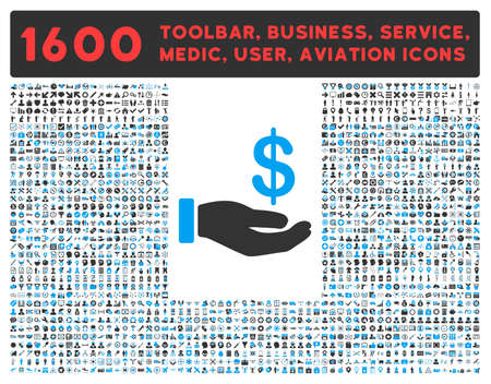 toolbar: Earnings vector icon and 1600 other business, service tools, medical care, software toolbar, web interface pictograms. Style is bicolor flat symbols, blue and gray colors, rounded angles, white background.