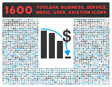 health care analytics: Epic Fail vector icon and 1600 other business, service tools, medical care, software toolbar, web interface pictograms. Style is bicolor flat symbols, blue and gray colors, rounded angles, white background.