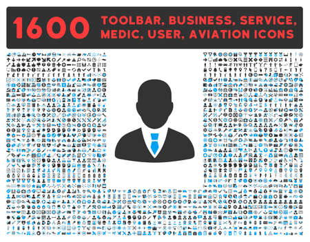 toolbar: Manager vector icon and 1600 other business, service tools, medical care, software toolbar, web interface pictograms. Style is bicolor flat symbols, blue and gray colors, rounded angles, white background.