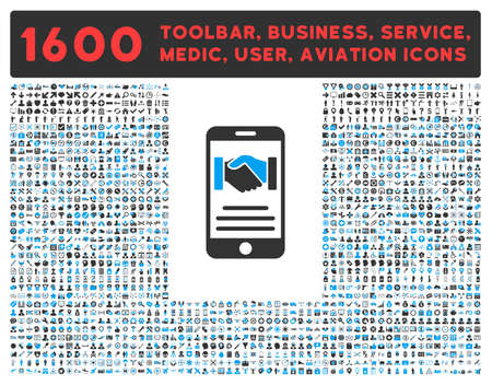 toolbar: Mobile Agreement vector icon and 1600 other business, service tools, medical care, software toolbar, web interface pictograms. Style is bicolor flat symbols, blue and gray colors, rounded angles, white background.