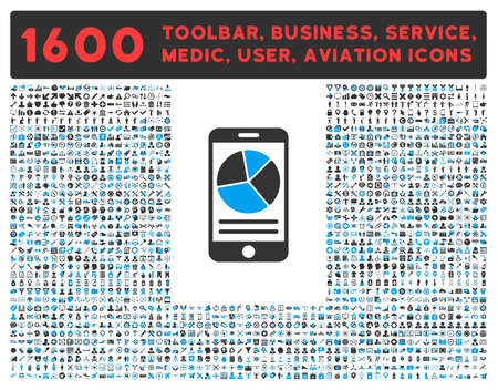 toolbar: Mobile Report vector icon and 1600 other business, service tools, medical care, software toolbar, web interface pictograms. Style is bicolor flat symbols, blue and gray colors, rounded angles, white background.