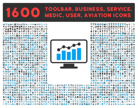toolbar: Monitoring vector icon and 1600 other business, service tools, medical care, software toolbar, web interface pictograms. Style is bicolor flat symbols, blue and gray colors, rounded angles, white background. Illustration