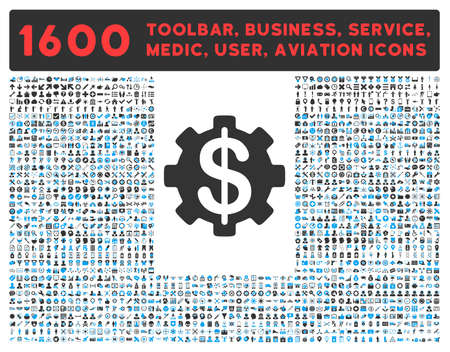 toolbar: Payment Options vector icon and 1600 other business, service tools, medical care, software toolbar, web interface pictograms. Style is bicolor flat symbols, blue and gray colors, rounded angles, white background.