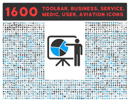 toolbar: Public Report vector icon and 1600 other business, service tools, medical care, software toolbar, web interface pictograms. Style is bicolor flat symbols, blue and gray colors, rounded angles, white background.