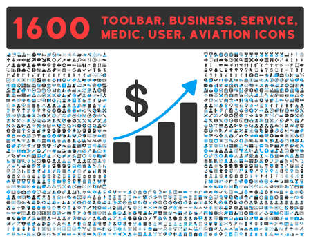 health care analytics: Sales Growth vector icon and 1600 other business, service tools, medical care, software toolbar, web interface pictograms. Style is bicolor flat symbols, blue and gray colors, rounded angles, white background.