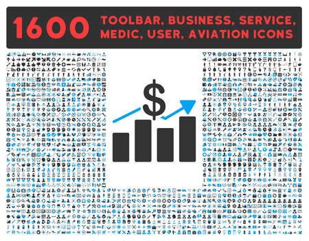 health care analytics: Sales vector icon and 1600 other business, service tools, medical care, software toolbar, web interface pictograms. Style is bicolor flat symbols, blue and gray colors, rounded angles, white background.