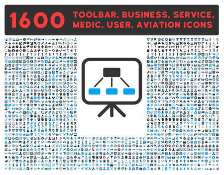 toolbar: Scheme Screen vector icon and 1600 other business, service tools, medical care, software toolbar, web interface pictograms. Style is bicolor flat symbols, blue and gray colors, rounded angles, white background.