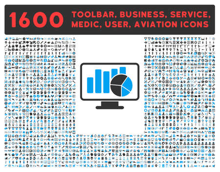 toolbar: Statistics vector icon and 1600 other business, service tools, medical care, software toolbar, web interface pictograms. Style is bicolor flat symbols, blue and gray colors, rounded angles, white background.