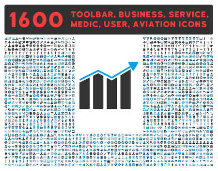 health care analytics: Trend vector icon and 1600 other business, service tools, medical care, software toolbar, web interface pictograms. Style is bicolor flat symbols, blue and gray colors, rounded angles, white background.