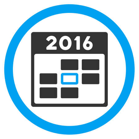 syllabus: 2016 Syllabus Day vector icon. Style is bicolor flat circled symbol, blue and gray colors, rounded angles, white background.