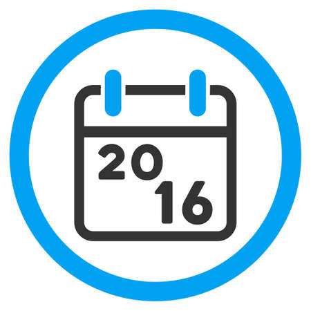 syllabus: 2016 Syllabus vector icon. Style is bicolor flat circled symbol, blue and gray colors, rounded angles, white background.