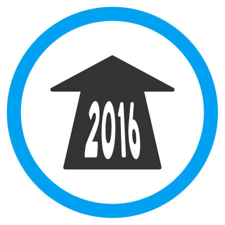 circled: 2016 Future Road vector icon. Style is bicolor flat circled symbol, blue and gray colors, rounded angles, white background.
