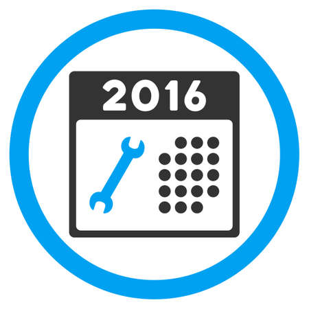 schedule system: 2016 Service Organizer vector icon. Style is bicolor flat circled symbol, blue and gray colors, rounded angles, white background.