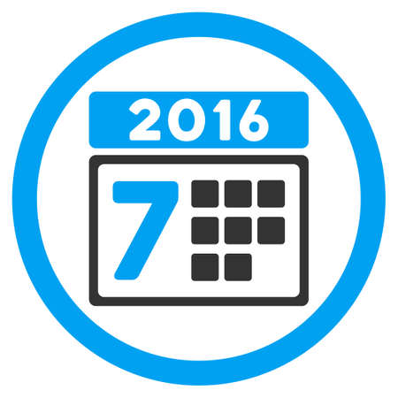 syllabus: 2016 Week Syllabus vector icon. Style is bicolor flat circled symbol, blue and gray colors, rounded angles, white background.