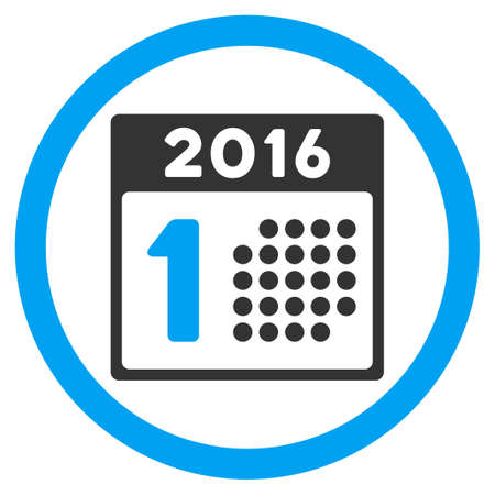 first day: First 2016 Day vector icon. Style is bicolor flat circled symbol, blue and gray colors, rounded angles, white background. Illustration