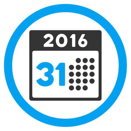 last day: Last 2016 Month Day vector icon. Style is bicolor flat circled symbol, blue and gray colors, rounded angles, white background.