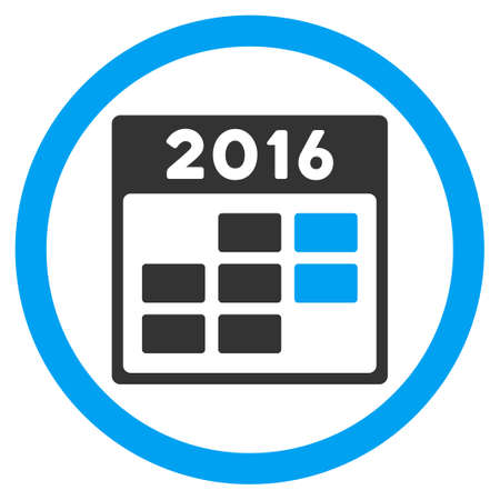 syllabus: 2016 Month Syllabus glyph icon. Style is bicolor flat circled symbol, blue and gray colors, rounded angles, white background.