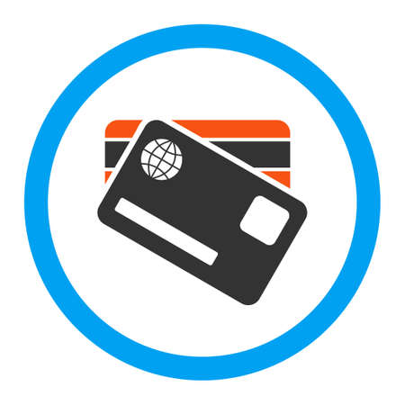 gain access: Banking Cards vector icon. Style is flat circled symbol, bright colors, rounded angles, white background.