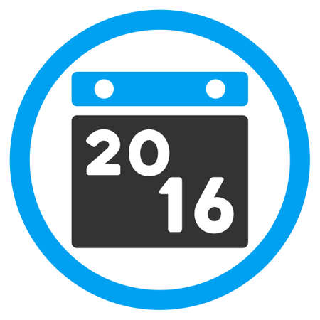 circled: 2016 Plan glyph icon. Style is bicolor flat circled symbol, blue and gray colors, rounded angles, white background.