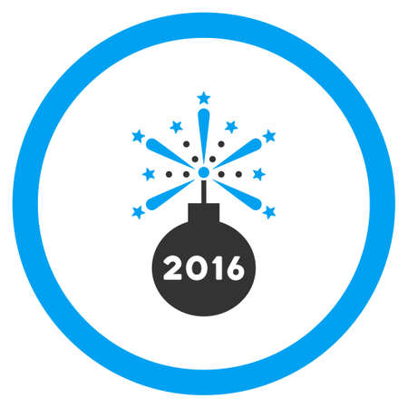 detonator: 2016 Fireworks Detonator glyph icon. Style is bicolor flat circled symbol, blue and gray colors, rounded angles, white background.