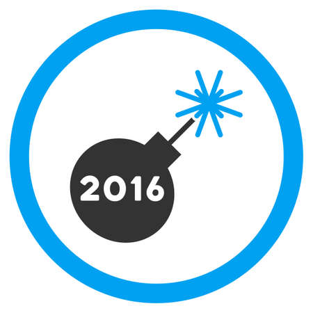 petard: 2016 Petard glyph icon. Style is bicolor flat circled symbol, blue and gray colors, rounded angles, white background.