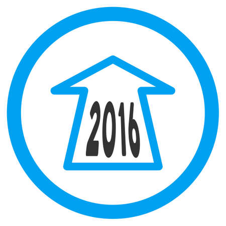 ring road: 2016 Ahead Arrow vector icon. Style is bicolor flat circled symbol, blue and gray colors, rounded angles, white background.