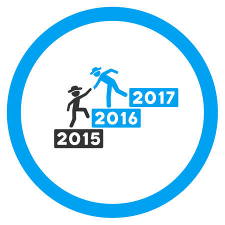fellow: Annual Fellow Help glyph icon. Style is bicolor flat circled symbol, blue and gray colors, rounded angles, white background. Stock Photo