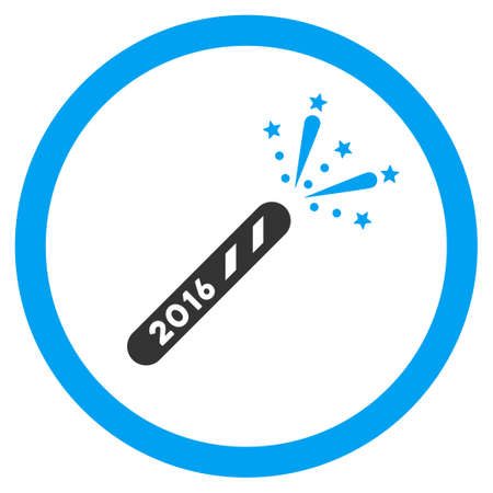 holiday maker: 2016 Firecracker vector icon. Style is bicolor flat circled symbol, blue and gray colors, rounded angles, white background. Illustration